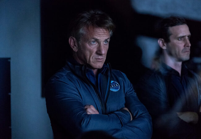 """The First -- """"The Choice"""" - Episode 107 - Tom and the Providence crew must make a choice with potentially life-threatening consequences. Matteo wrestles with his past. Tom and Denise must deal with unfinished business. Tom Hagerty (Sean Penn) and Nick Fletcher (James Ransone), shown. (Photo by: Alan Markfield/Hulu)"""